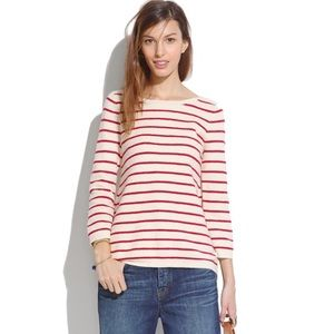 madewell white & red striped knit sweater